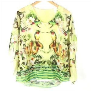 Hummingbird Poncho Blouse Tank Set
